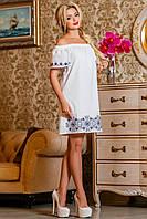 Летнее платье из батиста с вышивкой с открытыми плечами 42-52 размер, фото 1