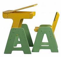 Детская деревянная парта с пеналом (растущая) ТМ SportBaby Цветной П-1+С-1