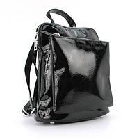 Рюкзак черный 88118-1bla лаковый городской молодежный маленький женский, фото 1