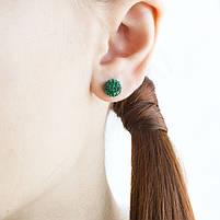 Сережки-гвоздики Кристальный шар 8 мм зеленые Арт. ER086SL, фото 3