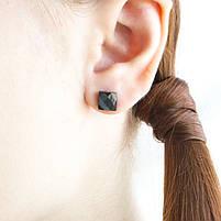 Сережки вольфрамовые квадратики черные Арт. ER001WF, фото 4