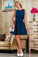 Романтичное Платье из Батиста с Вышивкой Бабочки Темно-Синее S-XL