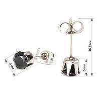 Сережки-гвоздики с крупным черным фианитом Арт. ER029SL, фото 4