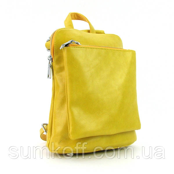 bec0fb7ed8b5 Желтый рюкзак 88118-6yel модный городской молодежный маленький женский - Интернет  магазин сумок SUMKOFF -