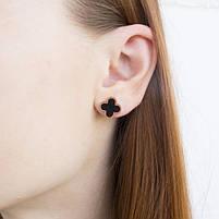 Сережки-гвоздики Четырехлистник с черной вставкой Арт. ER034SL, фото 5