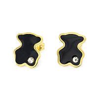 Сережки-гвоздики в стиле Tous с черной вставкой Арт. ER035SL, фото 2