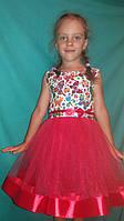 Детское платье для девочек красное , хлопок