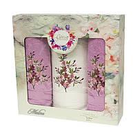 Подарочный набор полотенец в коробке - Gursan Cotton 2*50х90+70х140 фуксия