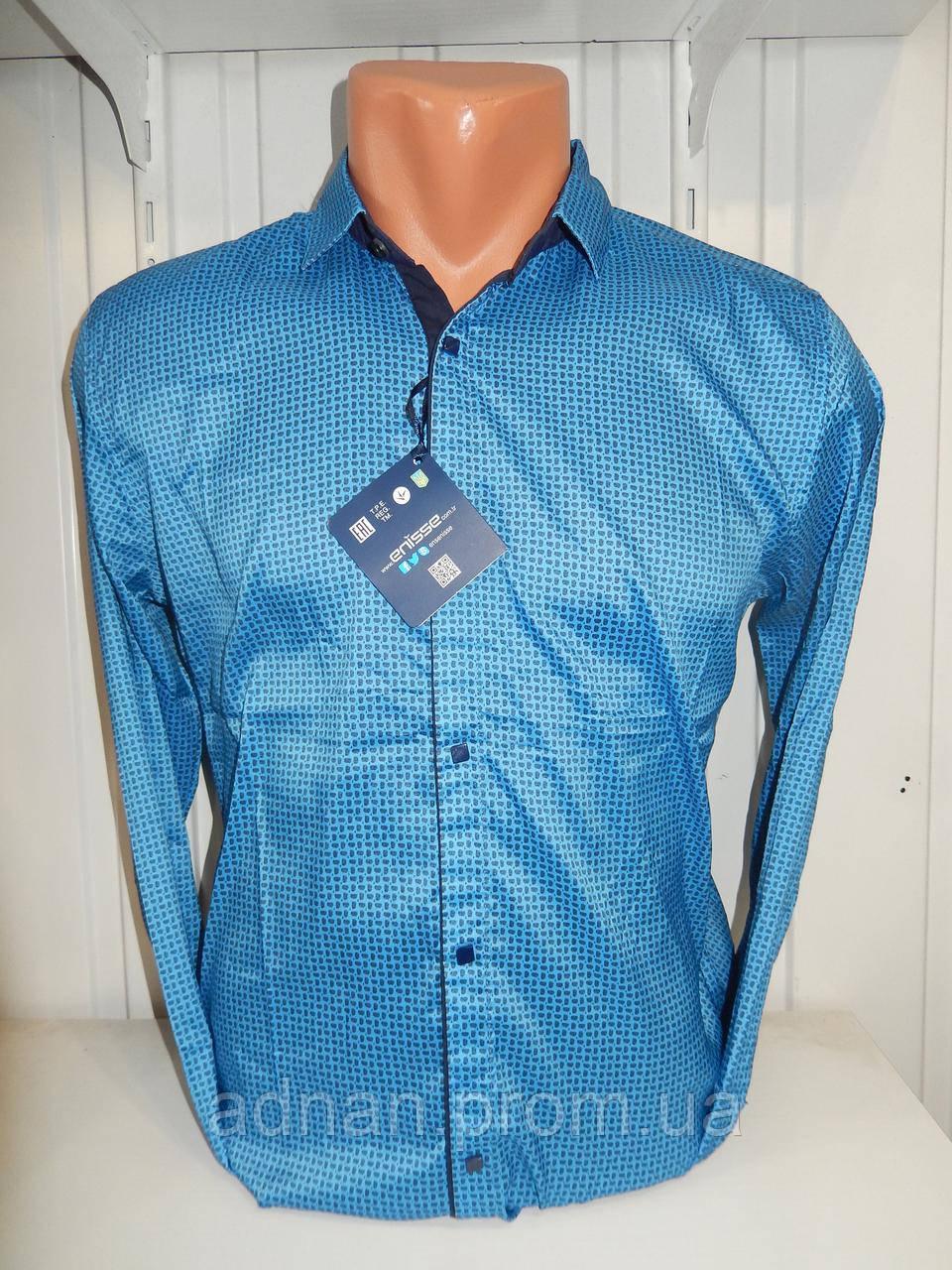 Рубашка мужская Enisse длинный рукав, под шелк, стрейч, заклёпки узор №2  001\ купить рубашку