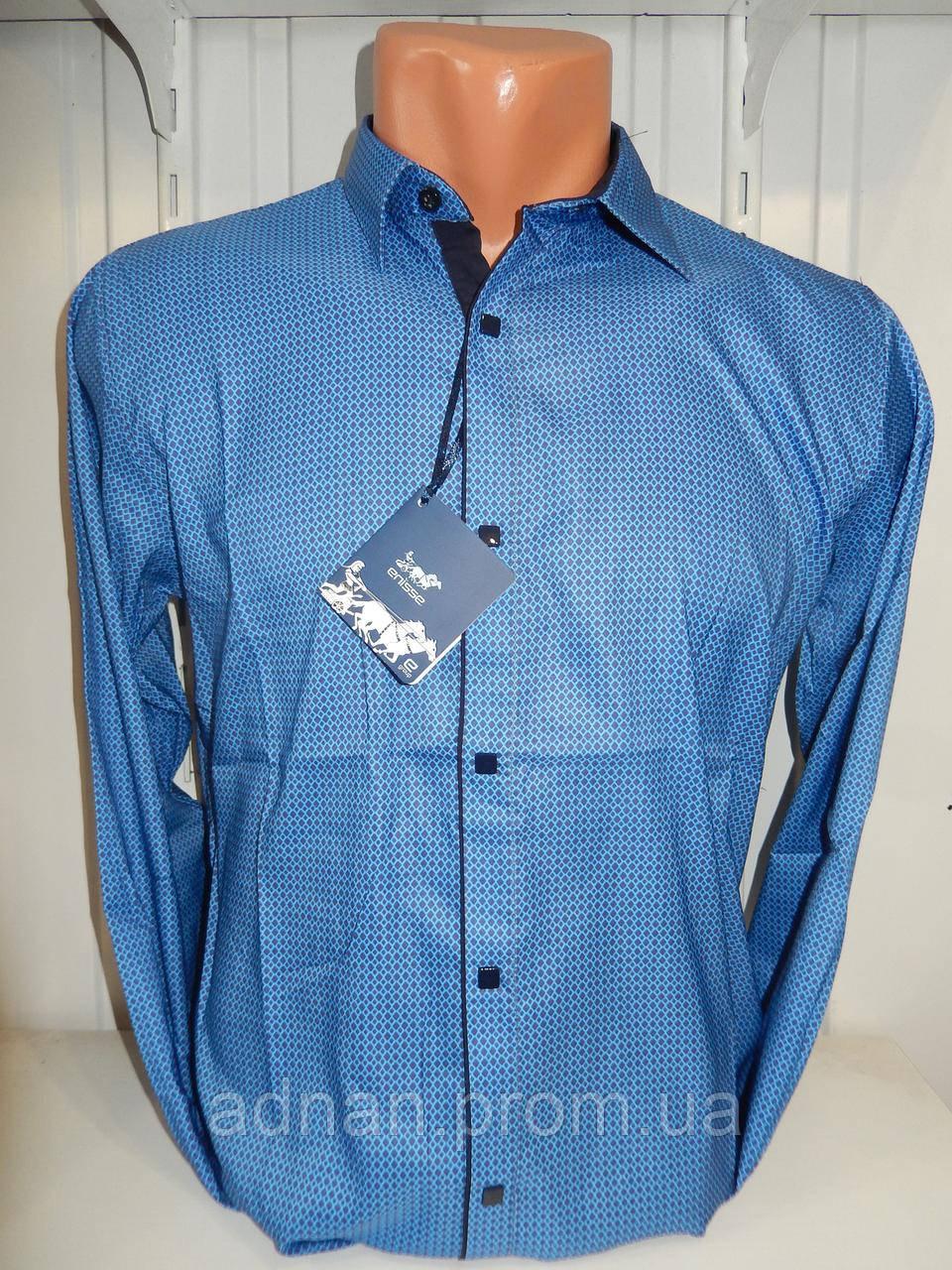Рубашка мужская Enisse длинный рукав, под шелк, стрейч, заклёпки узор №6  001\ купить рубашку