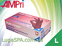 Перчатки нитриловые бордовые, AMPri