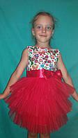 Детское платье Бабочки , красное