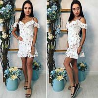 Женское короткое платье с запахом (белое) Familylook № 1011
