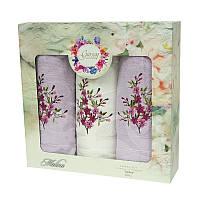 Подарочный набор полотенец в коробке - Gursan Cotton 2*50х90+70х140 фиолетовый