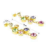 Сережки Гроздь разноцветных фианитов Арт. ER057SL, фото 4