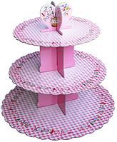 Трехъярусный стенд подставка для капкейков,  EM0317 розовый (Empire Эмпаир Емпаєр)