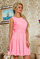 Романтичное Платье из Батиста с Вышивкой Бабочки Розовое S-XL