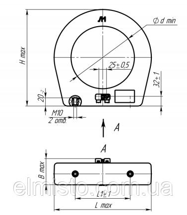 Габаритные, установочные и присоединительные размеры трансформаторов тока ТНШЛ-0,66