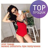 Женское боди на бретелях, с кружевом, трикотажное, красное / боди женское, красного цвета, модное / БОДИ ЛЕТО