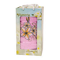 Полотенце в подарочной коробке - Gulcan Plumeria 1*50х90 светло-розовый