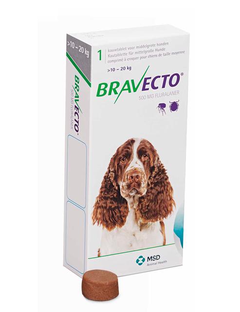 Жевательная таблетка Бравекто от блох и клещей для собак 10-20 кг, (500мг)