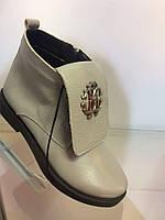 Модные стильные  женские ботинки  Roberto Cavalli, натуральная кожа , серые