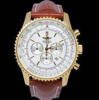 Мужские часы BREITLING кварцевые коричневый ремешок корпус золотой циферблат белый