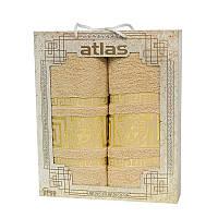 Подарочный набор полотенец в коробке - Atlas Medusa 50х90+70х140 бежевый