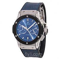 Мужские часы Hublot кварцевые циферблат и ремешок синий, корпус металл с черным ободком
