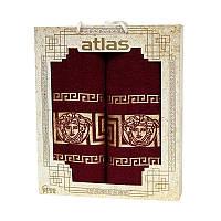 Подарочный набор полотенец в коробке - Atlas Medusa 50х90+70х140 бордо