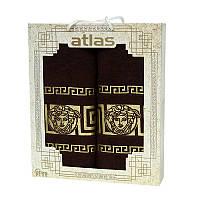 Подарочный набор полотенец в коробке - Atlas Medusa 50х90+70х140 коричневый