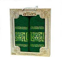 Подарочный набор полотенец в коробке - Atlas Medusa 50х90+70х140 зеленый