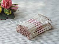 Тайские тычинки серо-бежевые, супермелкие на белой нитке, фото 1