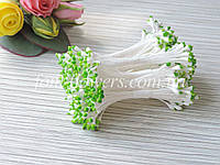 Тайские тычинки каплевидные белые с зеленым кончиком, фото 1