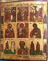 Икона 9-частник 19 век Благовещение Рождество Одигитрия Иоанн Предтеча Никита Николай Флор и Лавр