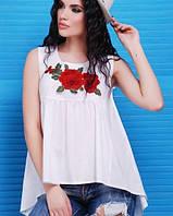 Коттоновая асимметричная блузка без рукавов(Flower fup)