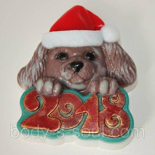 Пластиковая форма для мыла Собака в новогодней шапке