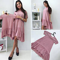 Женское платье с оборками и коротким рукавом Familylook № 1015