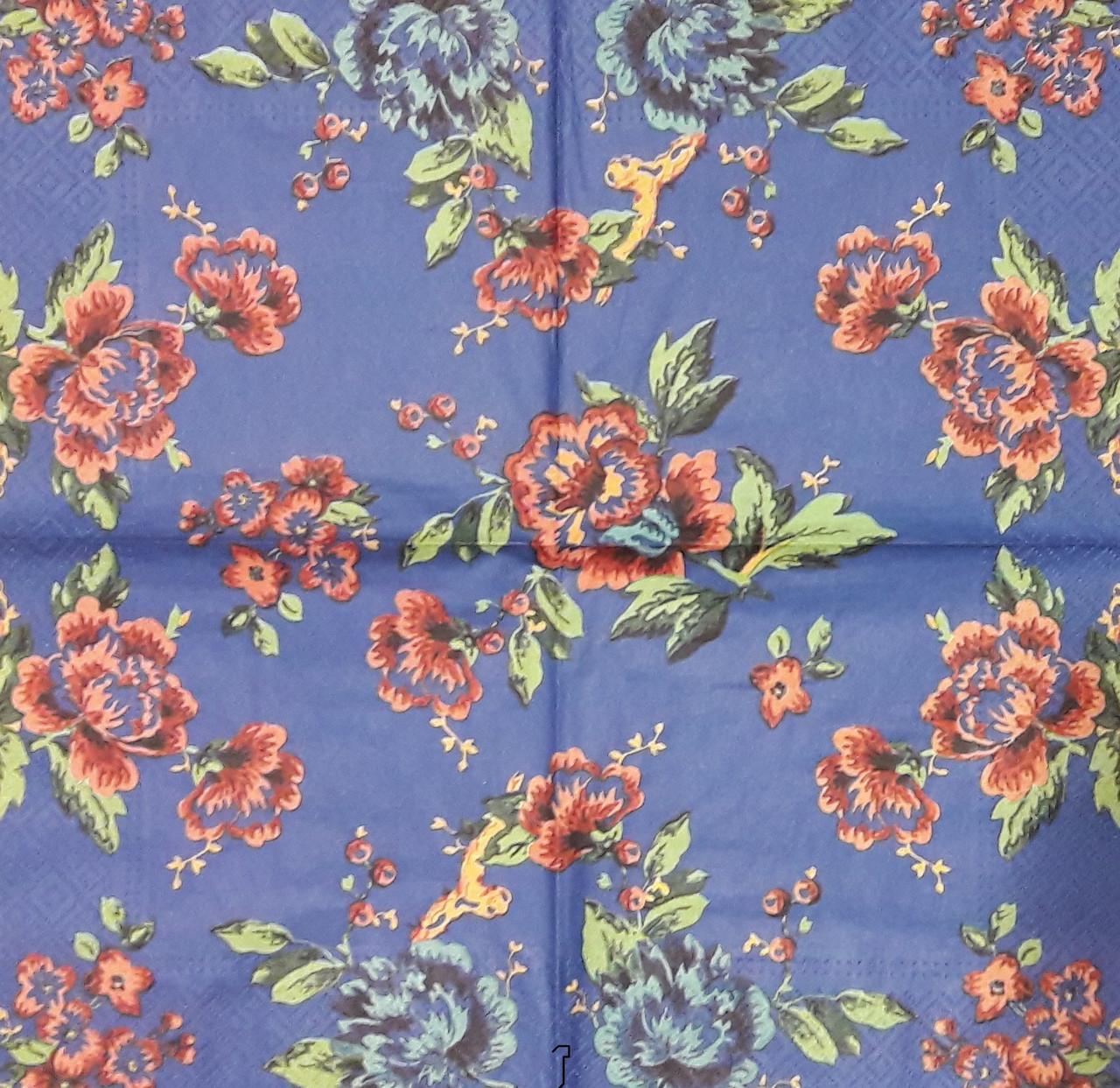 Декупажная салфетка Цветочный орнамент на синем фоне 6983