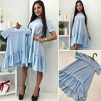 Женское платье с оборками и коротким рукавом (голубой) Familylook № 1015
