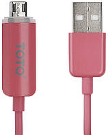 Кабель TOTO TKG-10 LED lighting USB cable microUSB 1m Pink