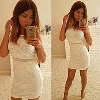 Короткое женское белое платье из гипюра P6756