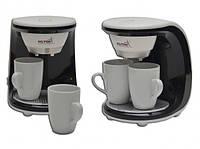 Кофеварка 2 чашки Hilton 5412 KА white/black