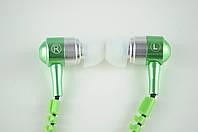Наушники вакуумные проводные Змейка + Microphone (зеленые) в блистере