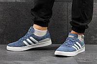 Замшевые мужские кеды Adidas Busenitz (темно-голубые)