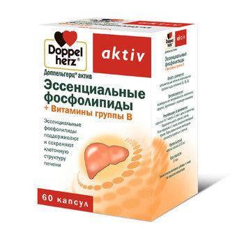 Доппельгерц актив Эссенциальные фосфолипиды витамины группы В -таблетки для улучшения работы печени(Квайссер), фото 2