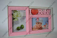 Рамка коллаж WK- 2-6 Baby розовая 2 фото