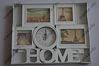 Рамка коллаж 3165 Home  4 фото  с часами