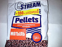 Зимняя гранулированая прикормка ТМ G. Stream Pellets 'Мотыль' 500г+100гр