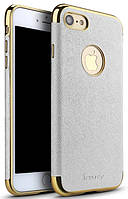 Ipaky Chrome connector + Leather Back case iPhone 7 White/Gold